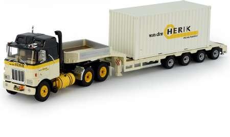 F700 6x4 mit 4-Achs Semitieflader mit 20ft. Container