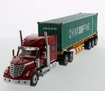 LoneStar Day Cab grey, Skeleton Trailer, 40' China Shipping Container